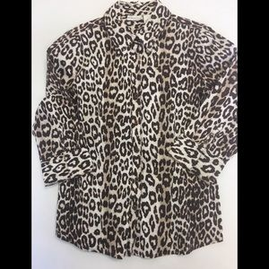 Leopard Print Shirt with 3/4 Length Sleeve